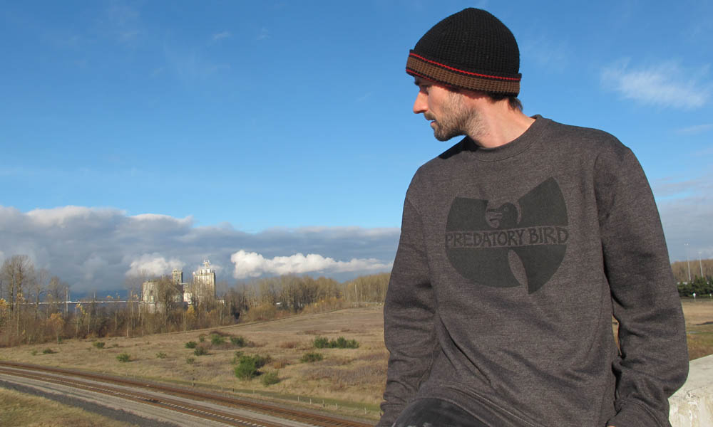 the wubird sweater as it was originally printed black on charcoal