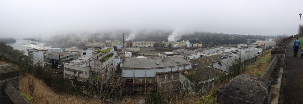 Panoramic view of the mills on the Willamette at Oregon City