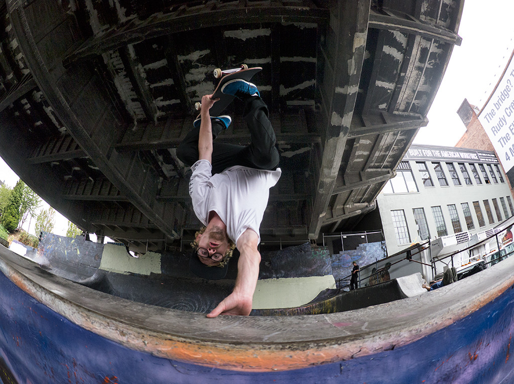 fisheye shot of eggplant at burnside skatepark